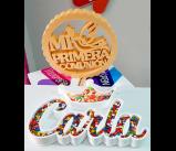 Letras Candy Bar y corchos decorativos para comunión