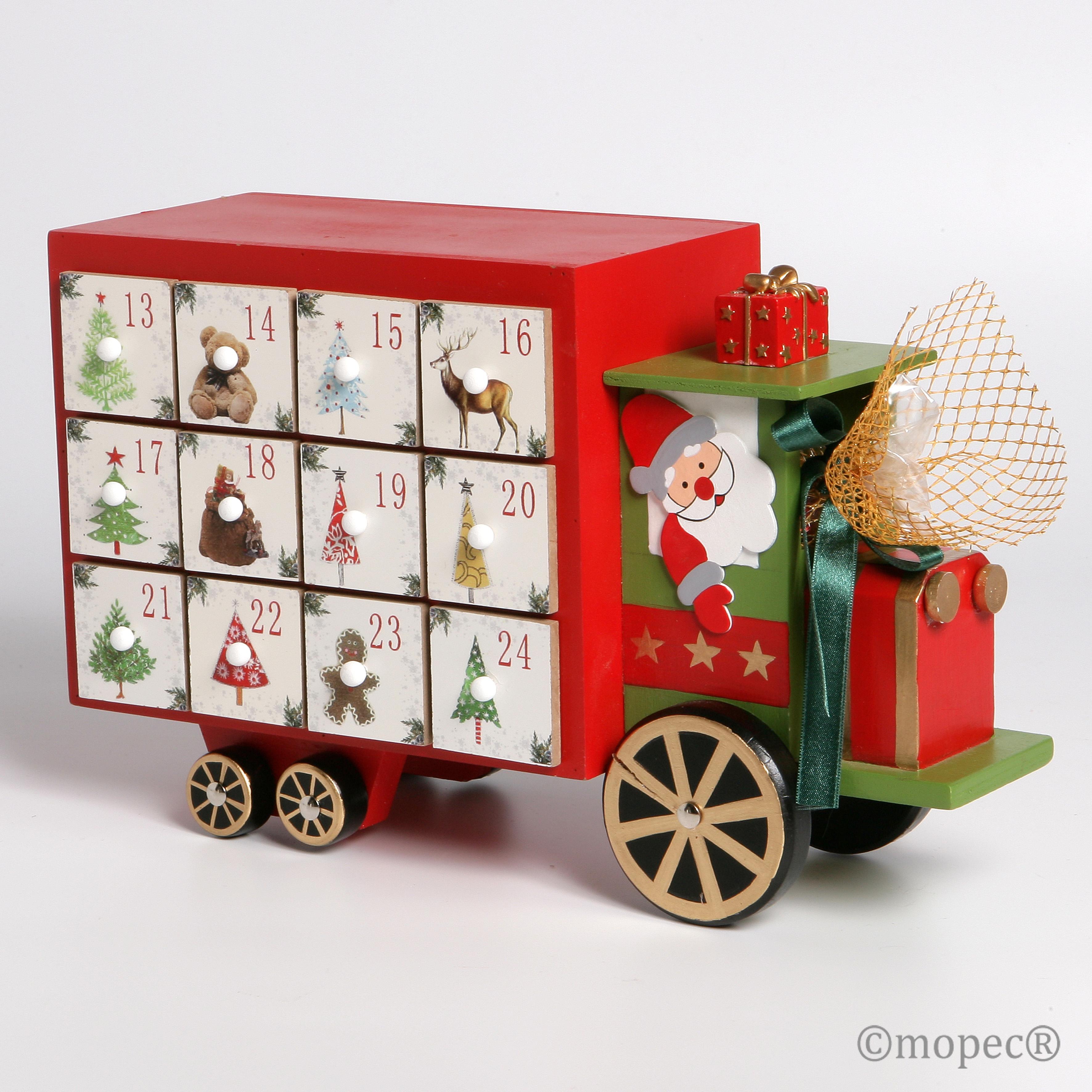Cami n madera calendario adviento con chocolates - Calendario adviento madera ...