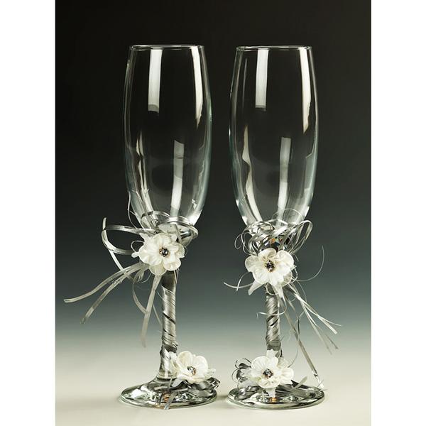Copas brindis flor blanca - Como decorar copas para boda ...