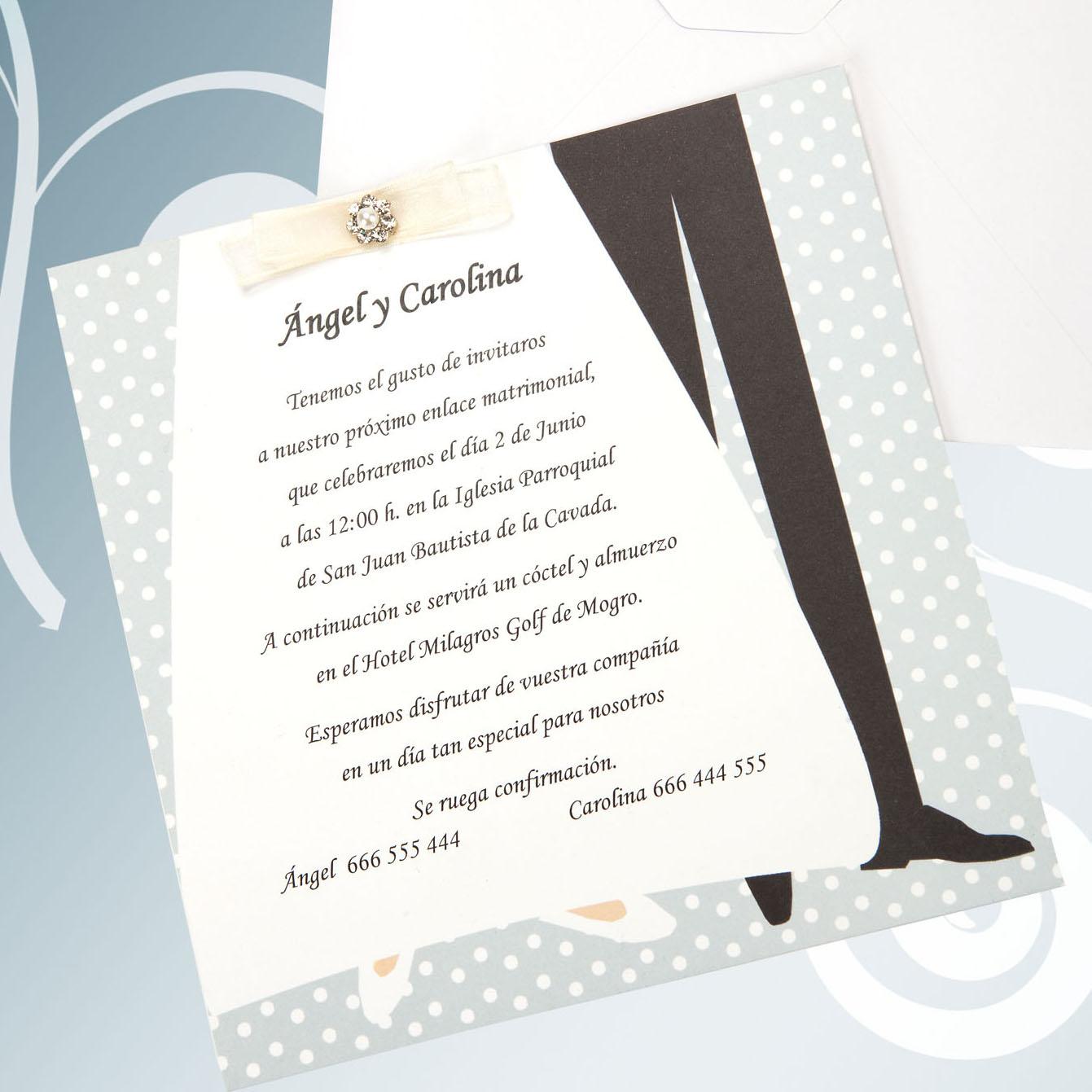 Invitaci n de boda n 129 impresi n incluida - Cosas que preparar para una boda ...