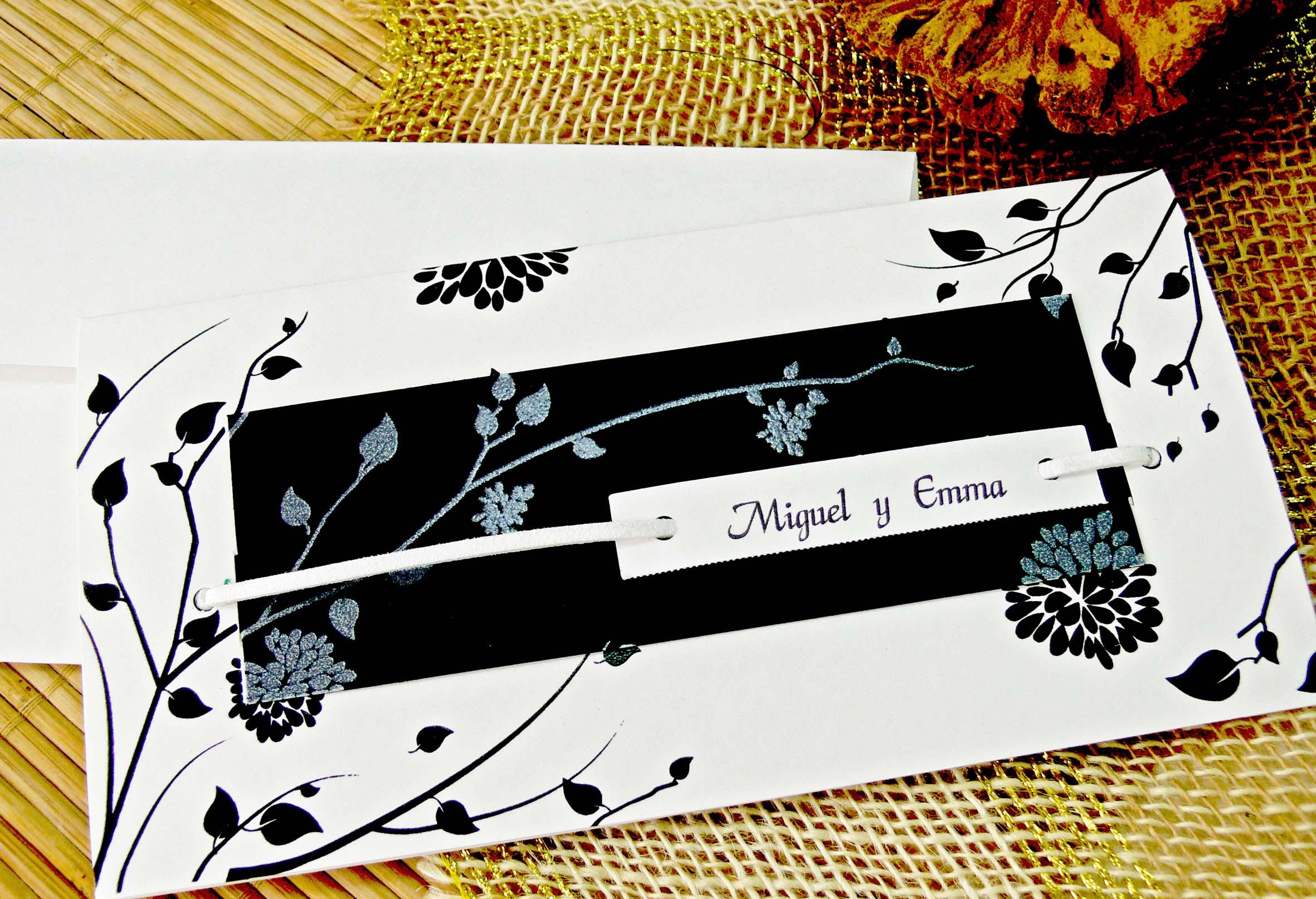 Matrimonio Tema Black And White : Invitación de boda black and white