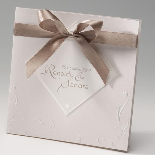 Invitacin de boda elegante con lazo marrn INVITACIONES DE BODA