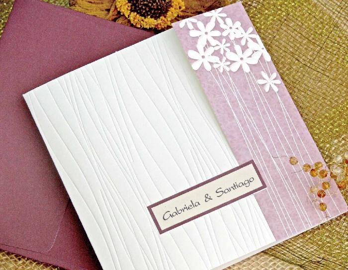 Invitaci n de boda flores violeta for Imprimir fotos baratas