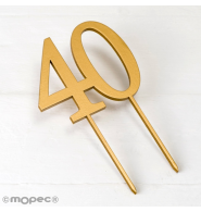 Cake topper 40 en color dorado