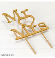 Cake topper de madera para boda, Mr & Mrs