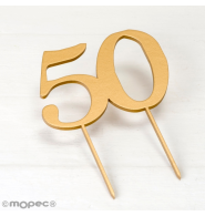 Cake topper de madera,50 color dorado