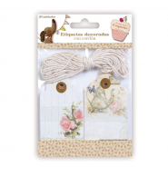 Eiquetas con cordón floral