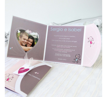 Invitación de Boda Blue and Pink