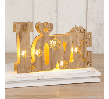 Love en madera con luces led